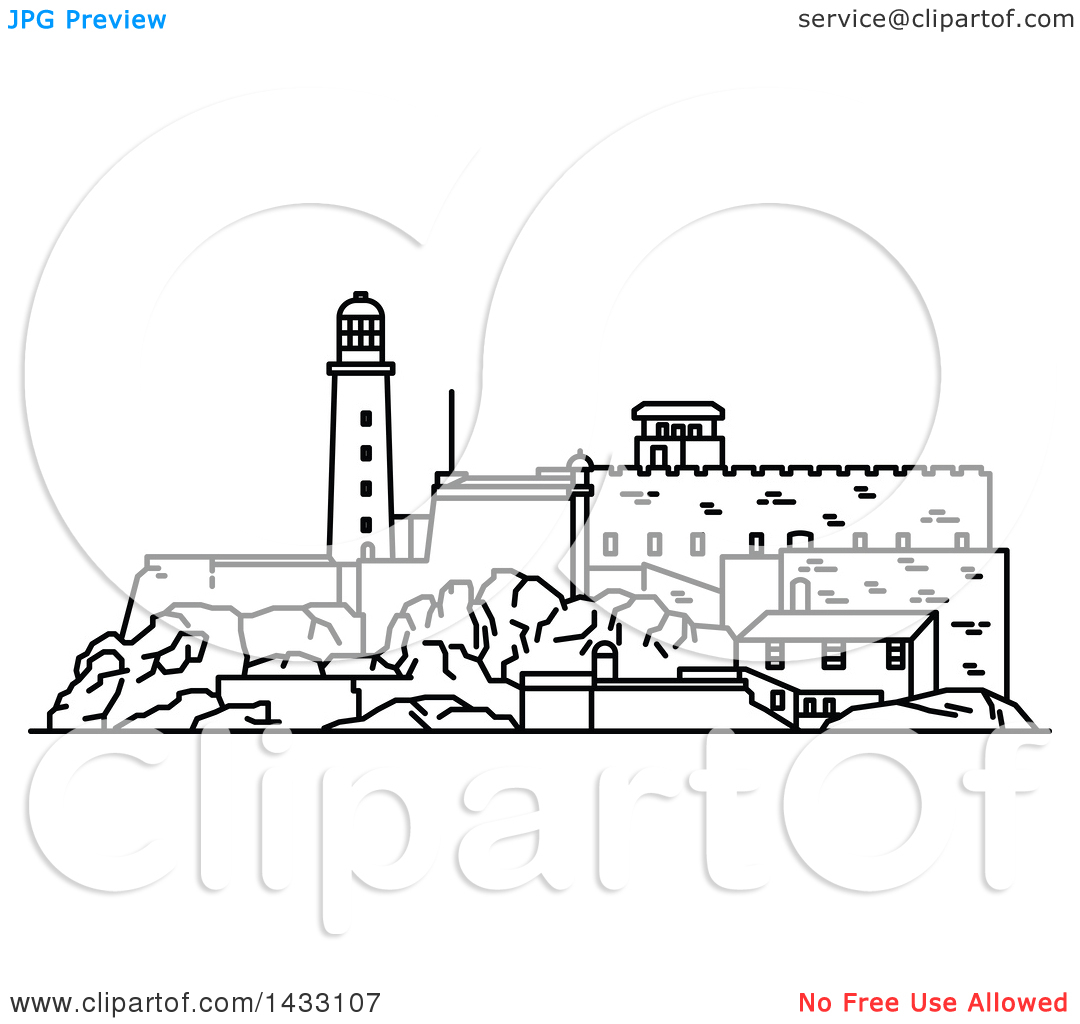 Clipart of a Black and White Line Drawing Styled Cuban Landmark.