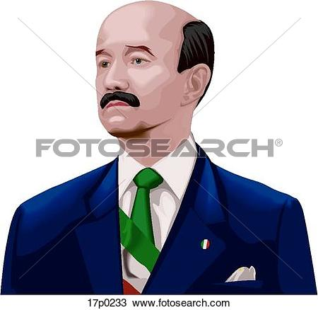 Clipart of Carlos Salinas de Gortari 17p0233.