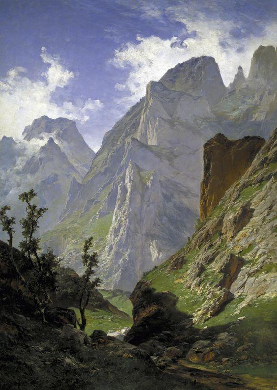 Carlos de Haes. Paisaje de los Picos de Europa. oleo sobre lienzo.
