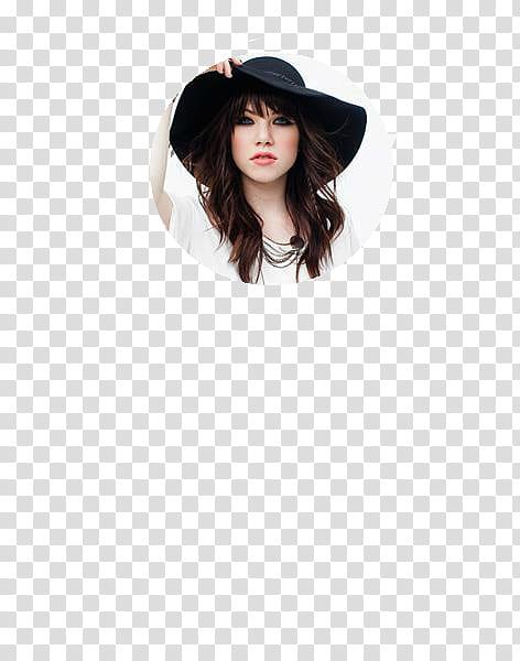 Y JPG de Carly Rae Jepsen, woman holding black sun hat on.