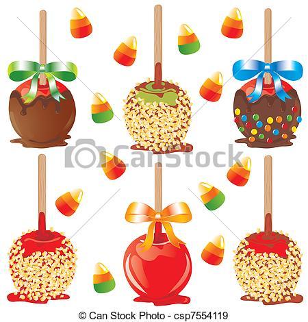 EPS Vectors of Candy apple treats.