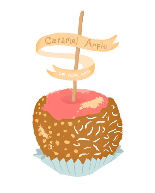 Clipart of carmel apple suckers.