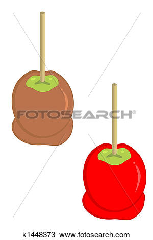 Drawing of carmel and candy apples k1448373.