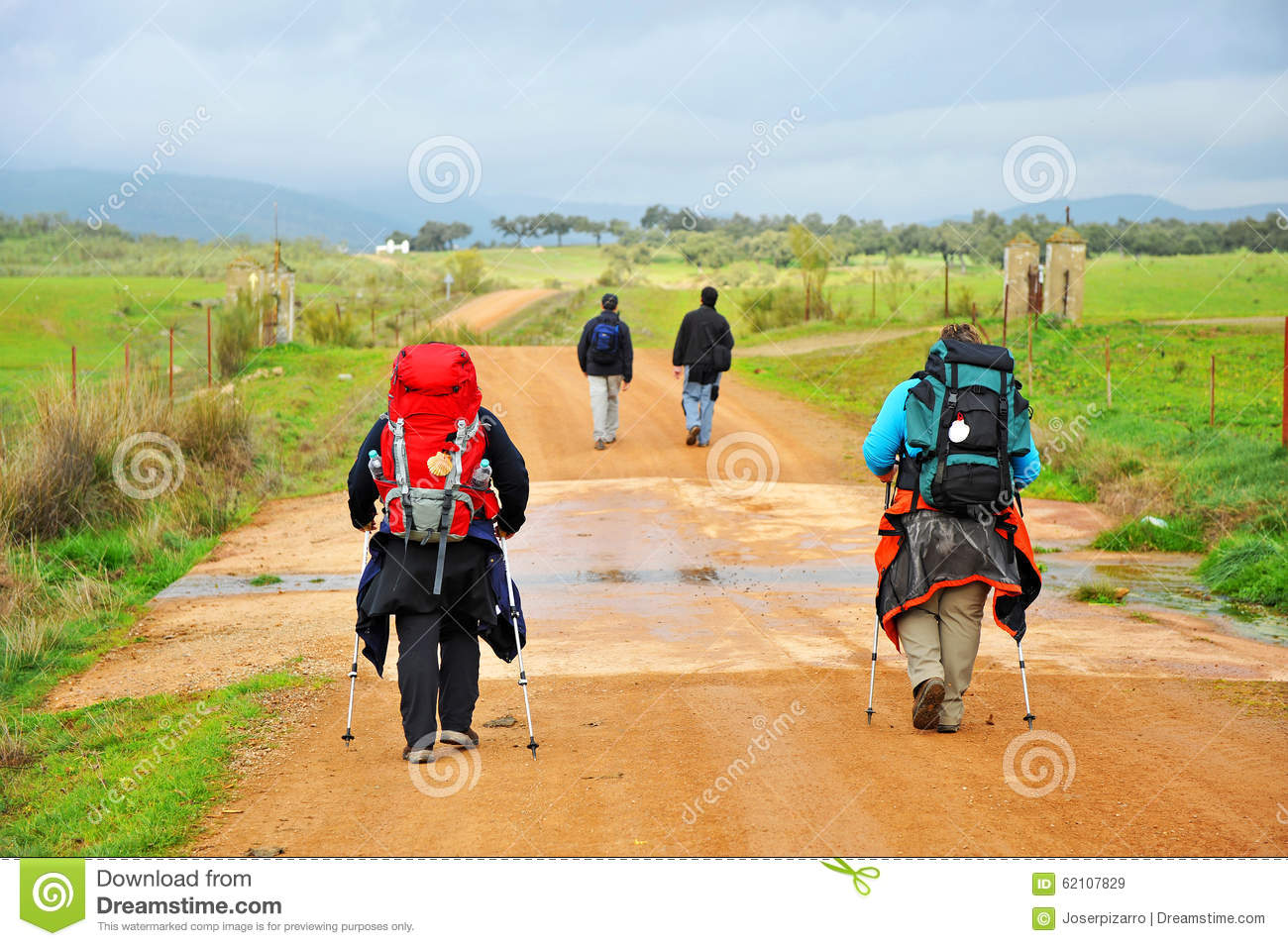 Pilgrims On The Camino De Santiago, Spain, Way To Santiago.