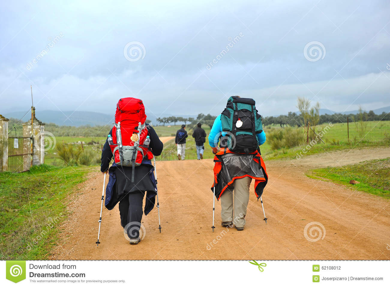 Pilgrims, Camino De Santiago De Compostela, Spain Editorial Photo.