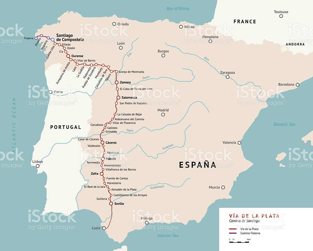 Via De La Plata Map Camino De Santiago Spain stock vector art.