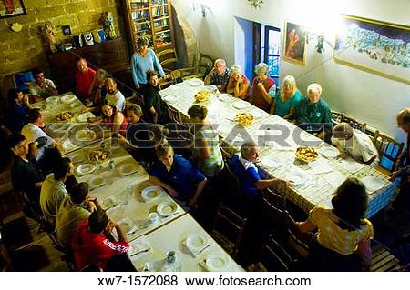 Pictures of Dinning room at the Church and Pilgrims refuge of Gra.
