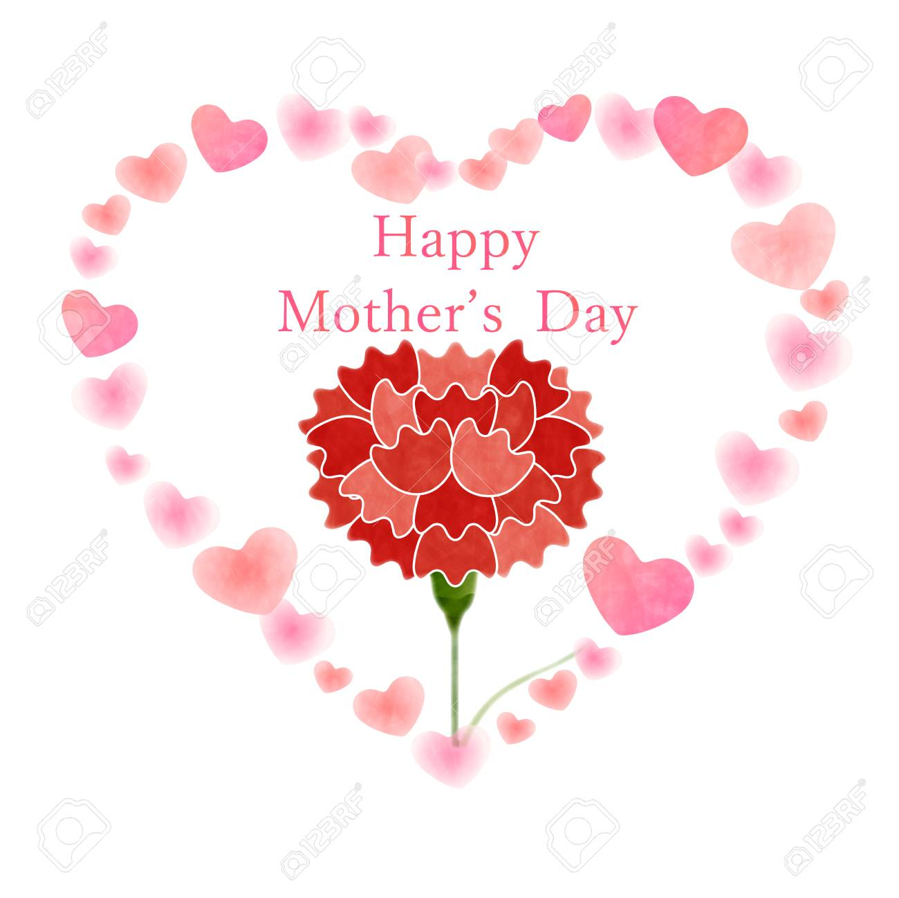 Mother's Day greeting card template with heart and carnation...