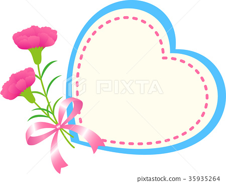 Mother's Day Message Card Carnation Heart.