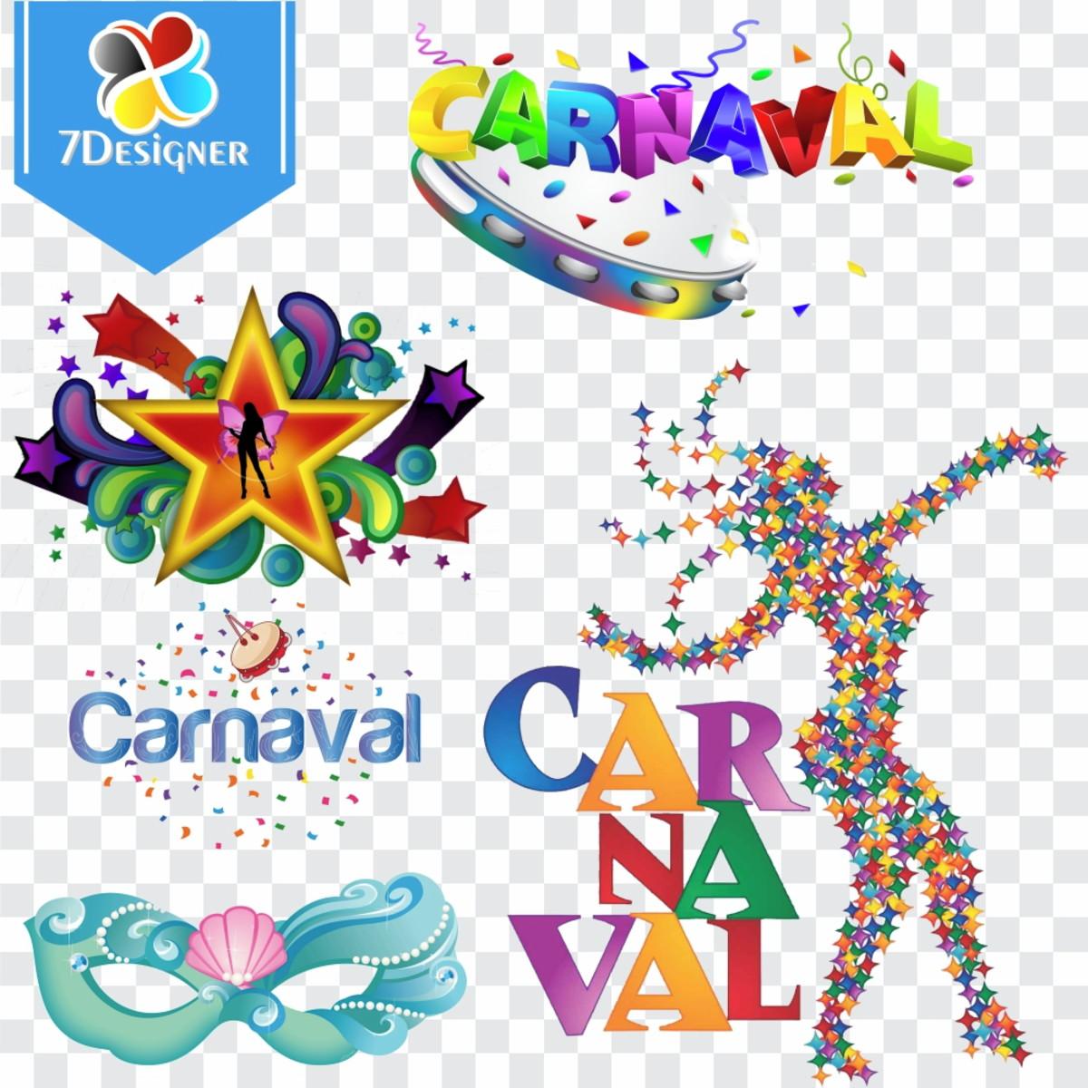 Kit Carnaval 60 imagens PNG + 26 Vetores.