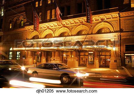 Stock Image of Carnegie Hall at night in New York City djh01205.