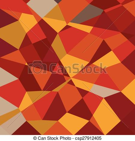 Vector Clipart of Carnelian Red Abstract Low Polygon Background.