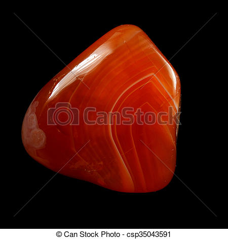 Stock Photographs of Red chalcedony (carnelian), isolated on black.