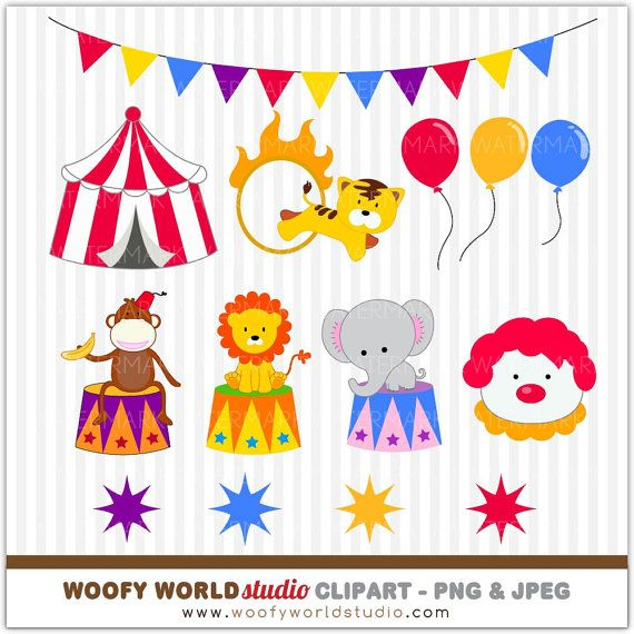 Circus Carnival Animal Clipart INSTANT by WoofyWorldStudio.