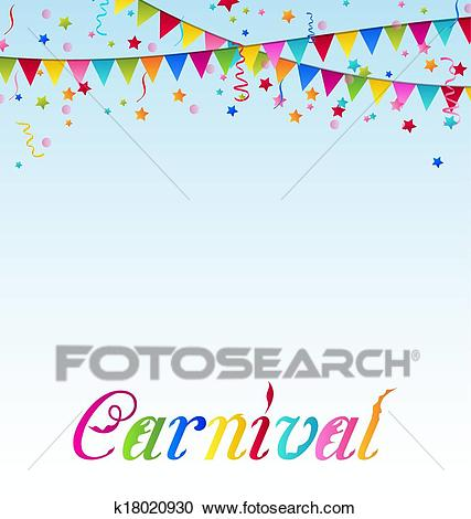 Carnival background with flags, confetti, text Clipart.