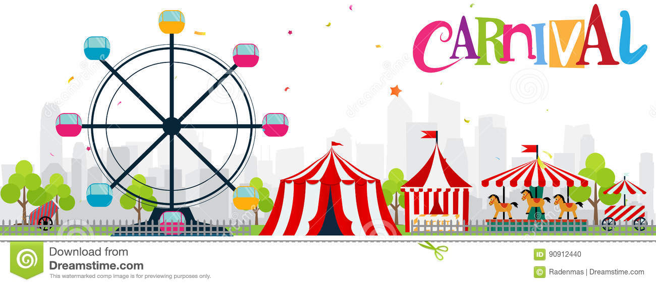 Funfair And Carnival Background Stock Vector.