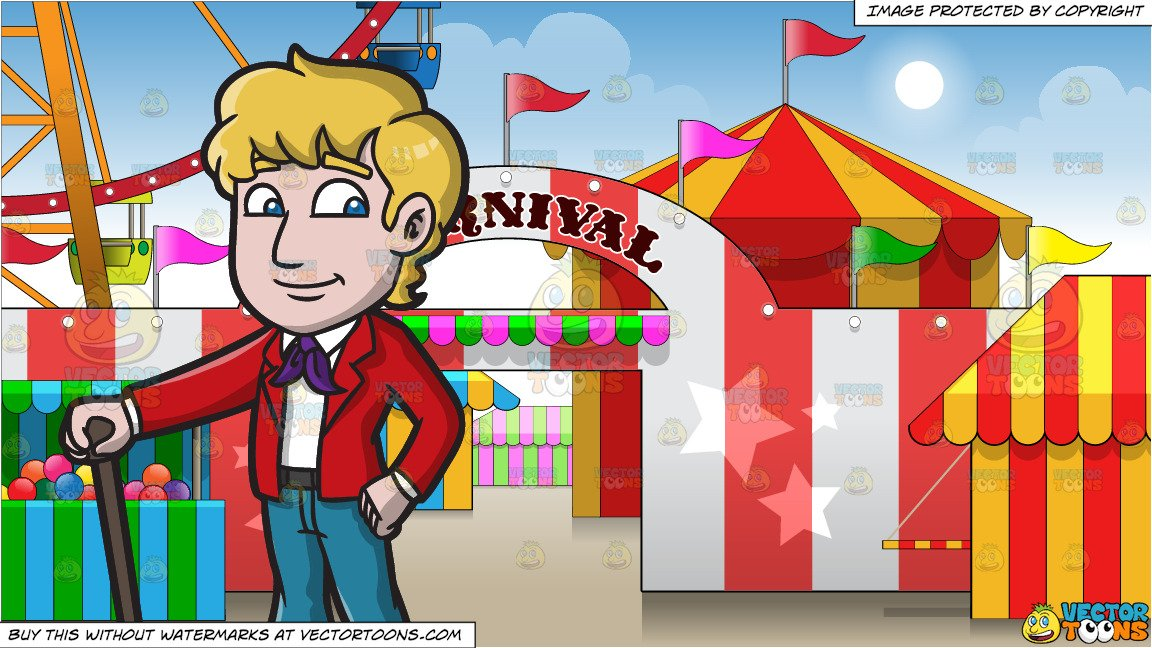 An Entertaining Mod Man and Exterior Of A Carnival Background.