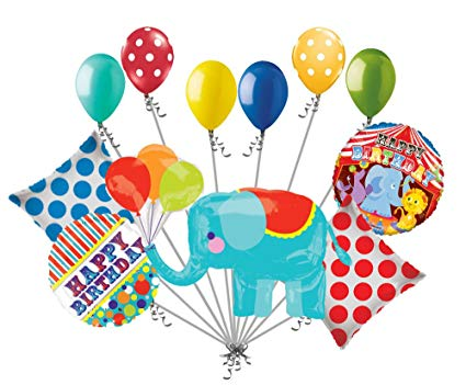 Amazon.com: 11pc Circus Animal Elephant Happy Birthday.