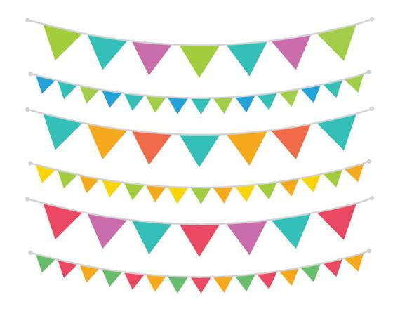 Carnival Triangle Banner Clip Art Set.