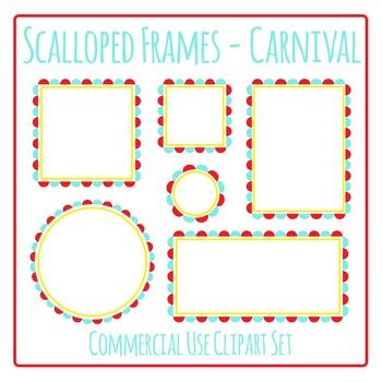 Scalloped Frames Borders Carnival Colors Clip Art Set Commercial Use.