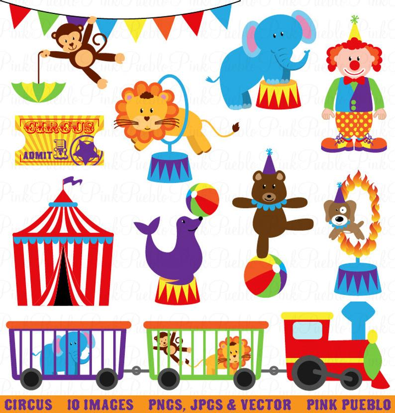 Circus Clip Art Clipart, Carnival Clip Art Clipart, Great for Birthday,  Invitations, Party.