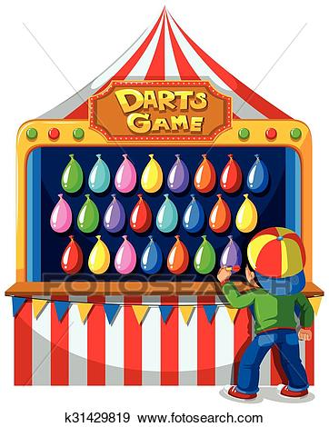 Boy playing darts game at carnival Clip Art.