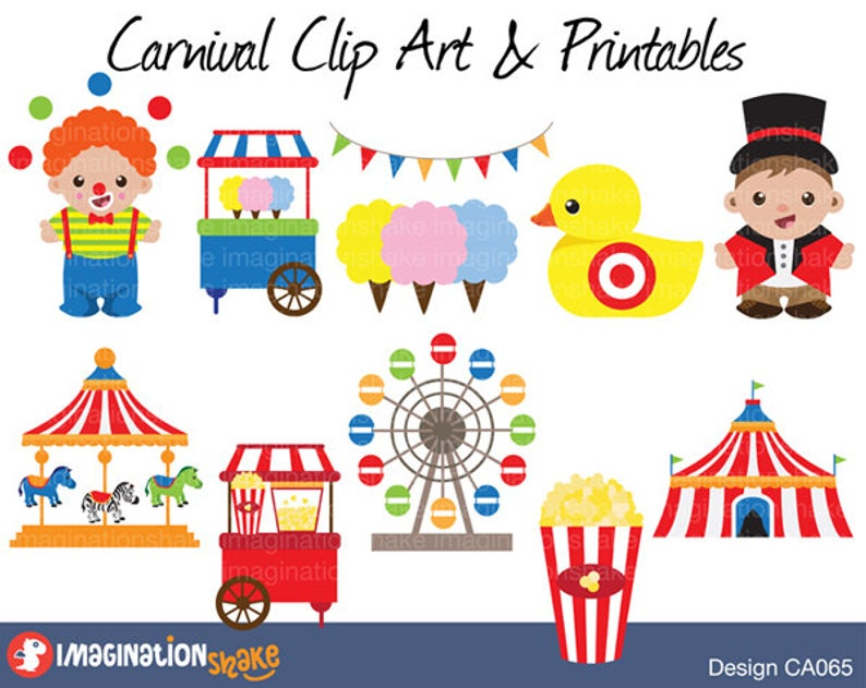 Carnival Clip Art & Printables Set / Amusement Park Clipart / Carnival  Circus Decorations / Koala Birthday Printables / Theme Park Clipart.