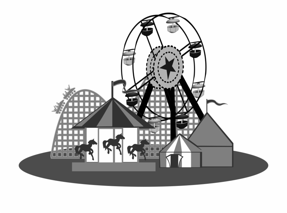 Carnival Games Black And White Clipart Kid.