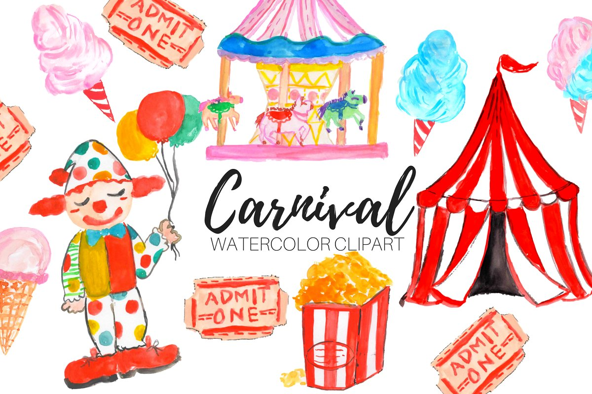 Watercolor Carnival Clipart ~ Illustrations ~ Creative Market.