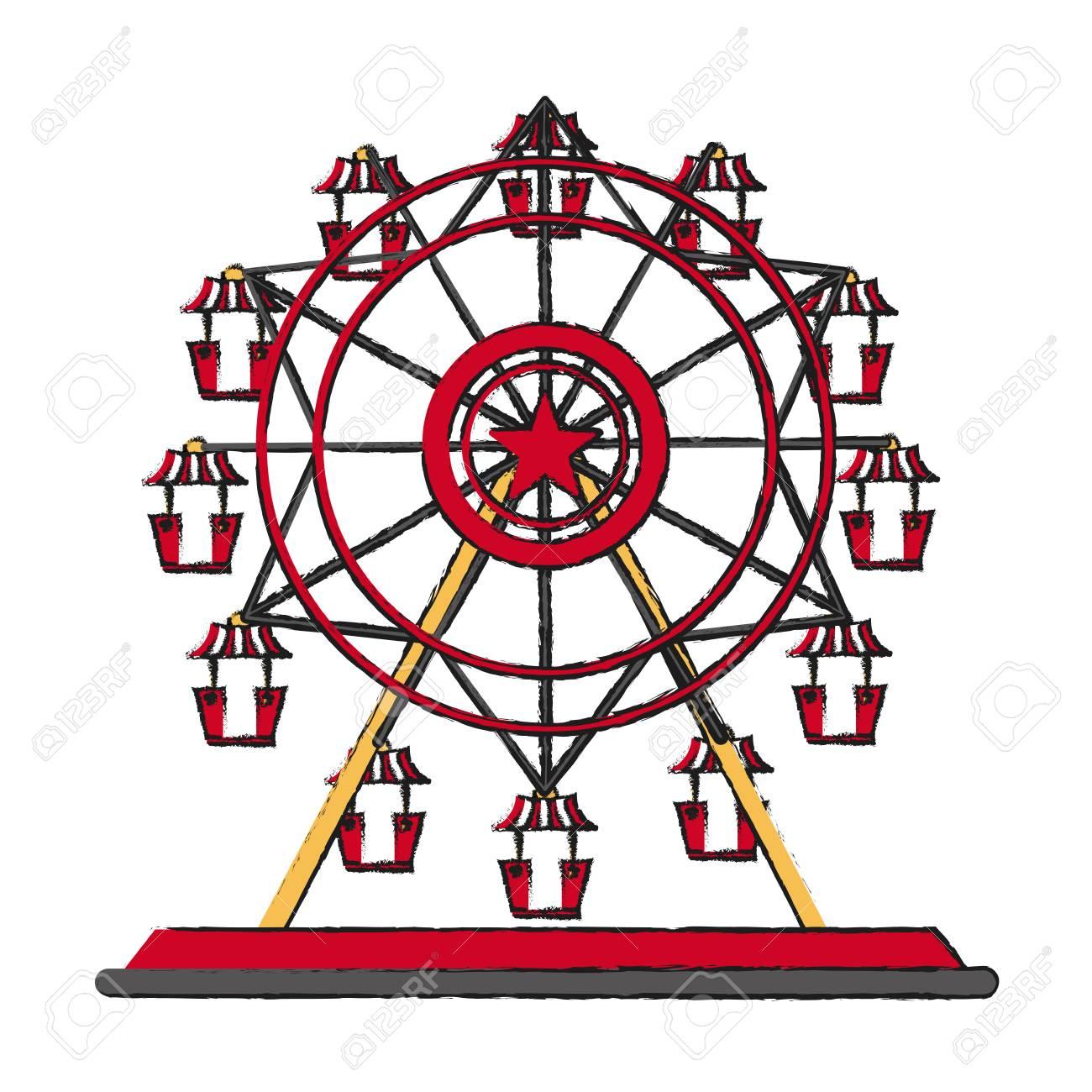 Carnival ferris wheel icon..