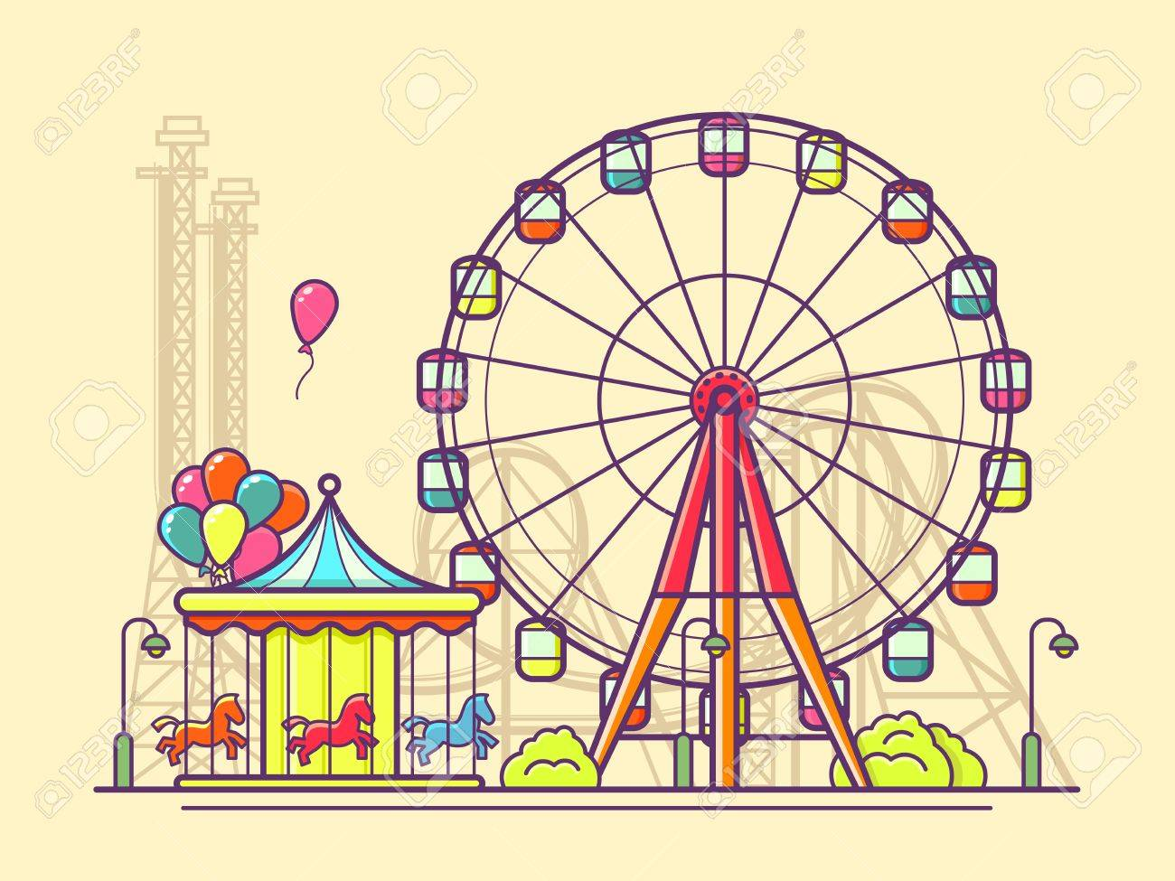 Funfair with ferris wheel. Amusement and carnival, carousel in...