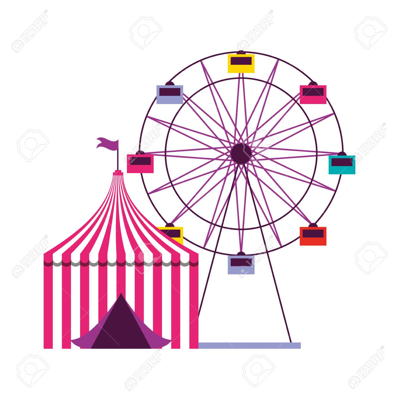 ferris wheel and tent circus carnival vector illustration.
