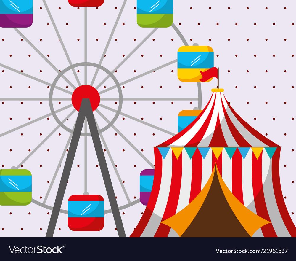Circus tent ferris wheel carnival fun fair.
