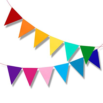 Multicolor Bunting Pennant Flags Banner Carnival Birthday Party Decorations  6.5ft.