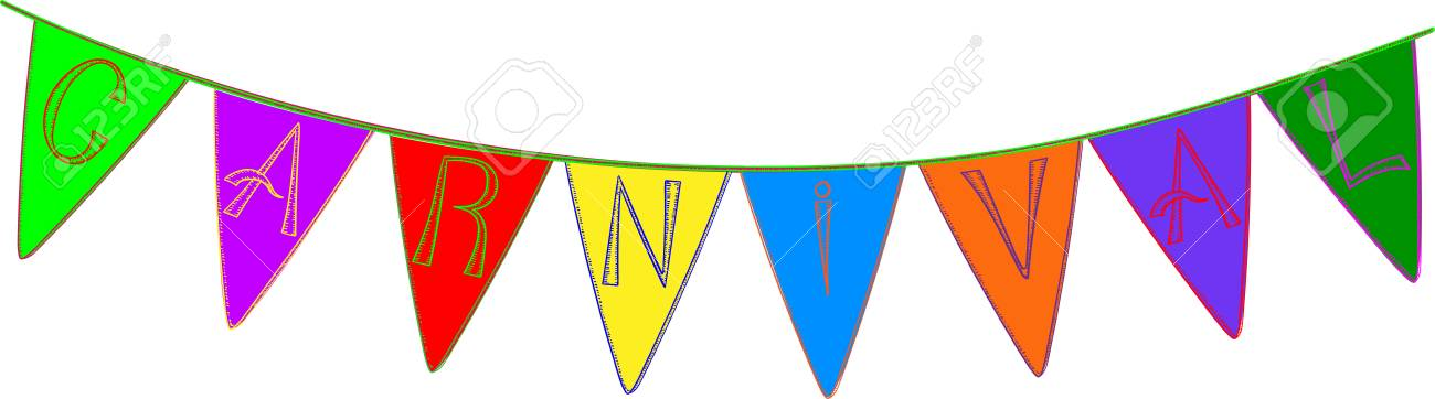 Colorful carnival garland with flags isolated on white background.