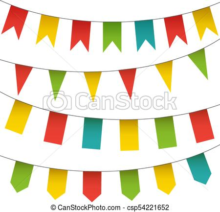 Decorative colorful flags and bunting garlands set. Vector isolated  carnival elements collection..