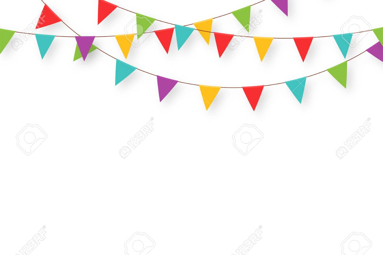 Carnival garland with flags. Decorative colorful party pennants...