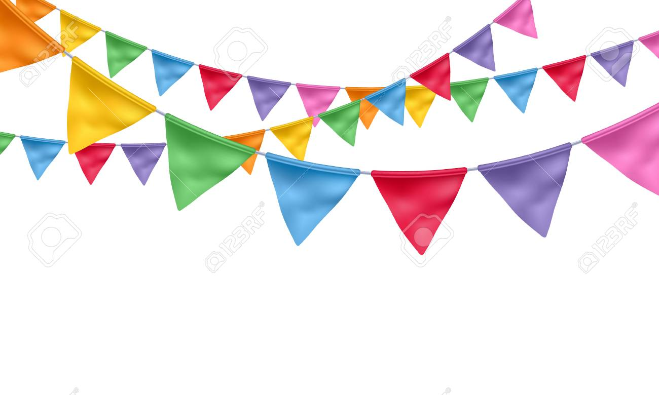 Colorful realistic flags garlands background. Party, carnival,...