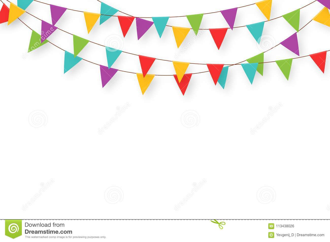Carnival Garland With Flags. Decorative Colorful Party Pennants For.