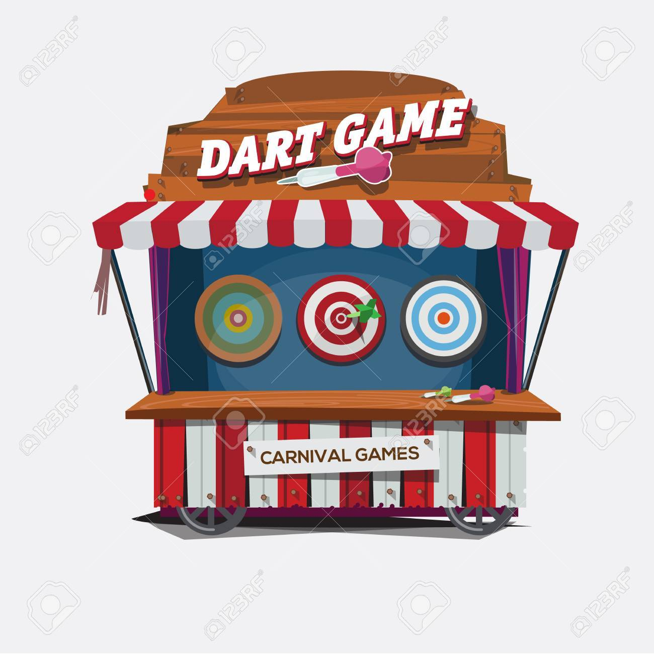 balloon dart game. carnival cart concept.