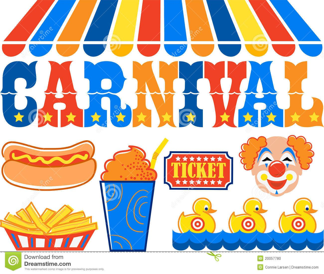 Headline Illustration Of The Word Carnival With Hot Dog Fries Slushy.