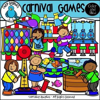 Carnival Games Clip Art Set.