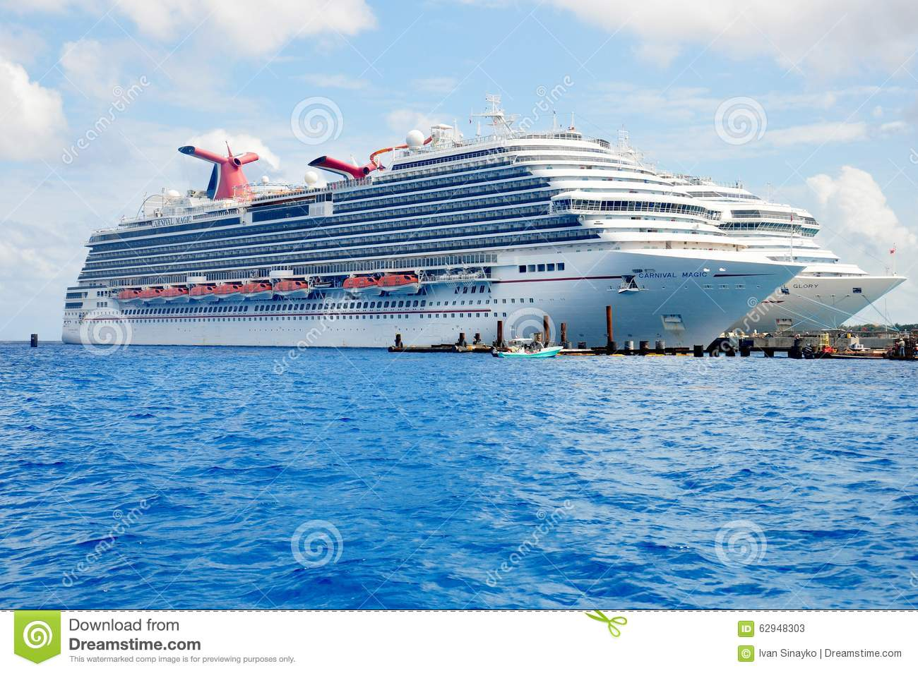 Carnival Magic And Carnival Glory Cruise Ships Editorial Stock.