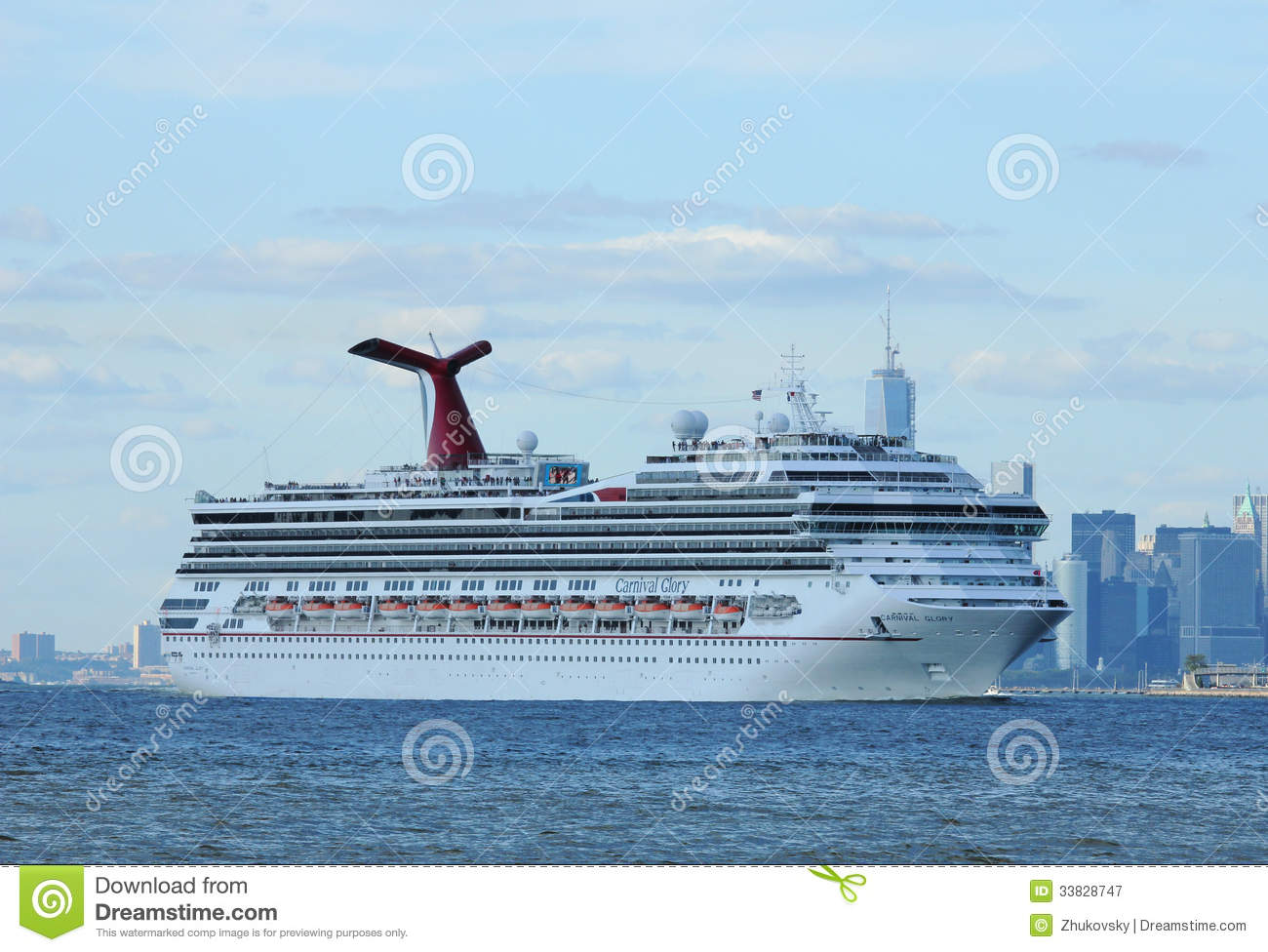 Carnival Glory Cruise Ship Leaving New York Editorial Photography.