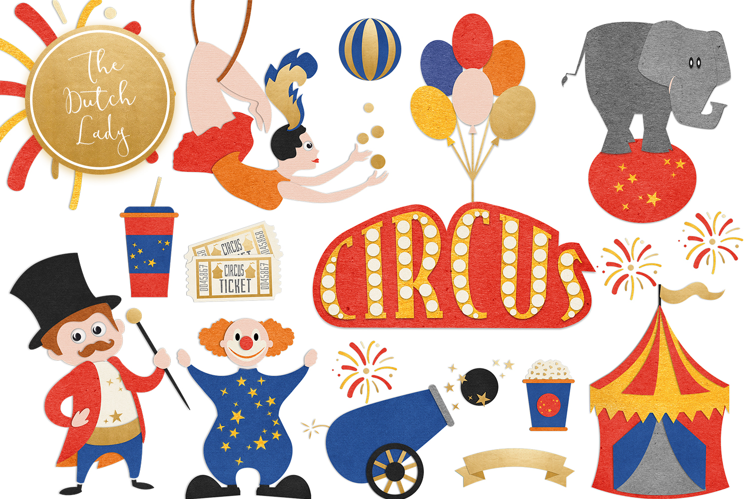 Circus & Carnival Show Clipart Set.