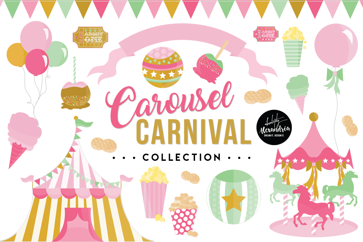 Carousel Carnival Clipart Graphics & Digital Paper Patterns Bundle.