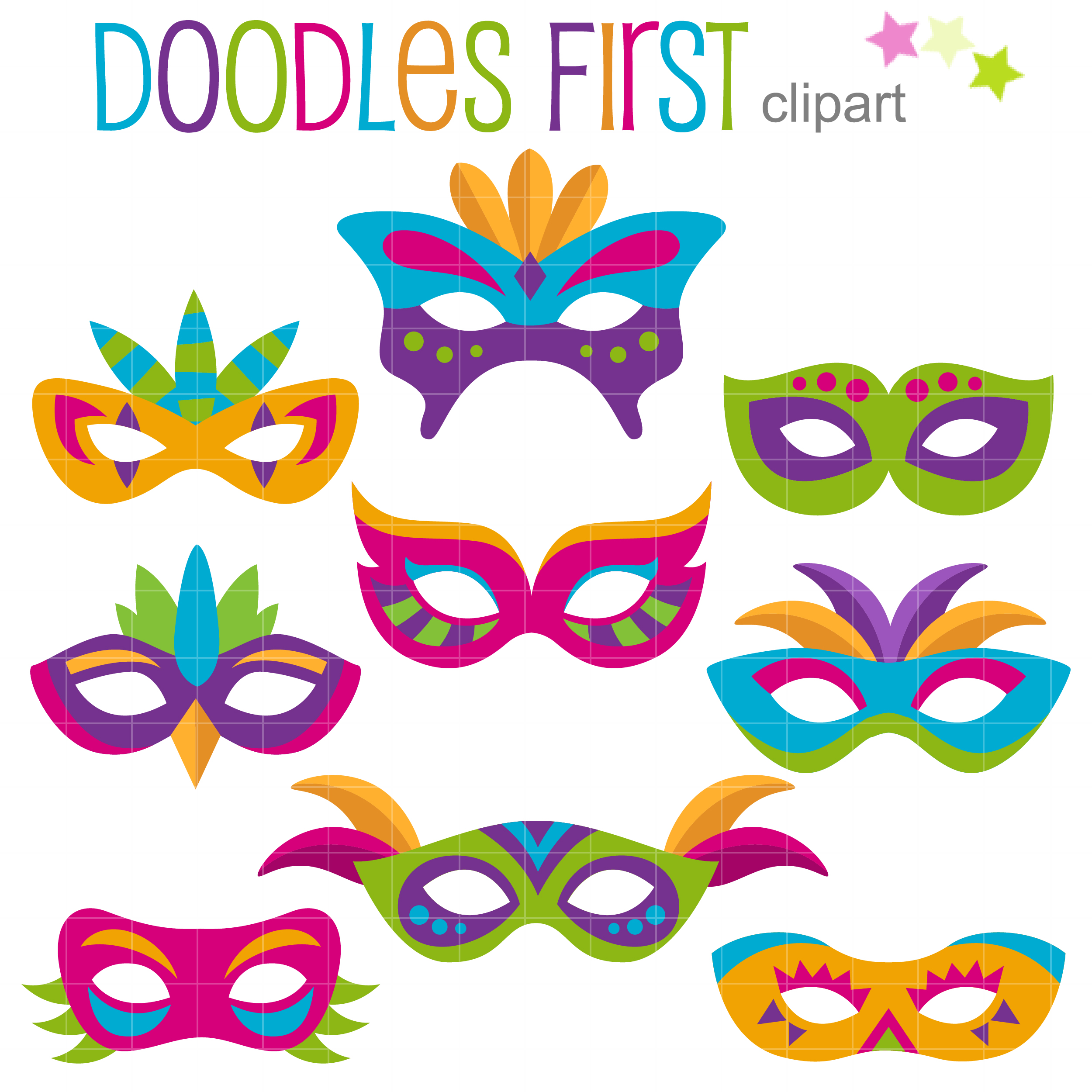 Carnival Mask Clip Art Set.
