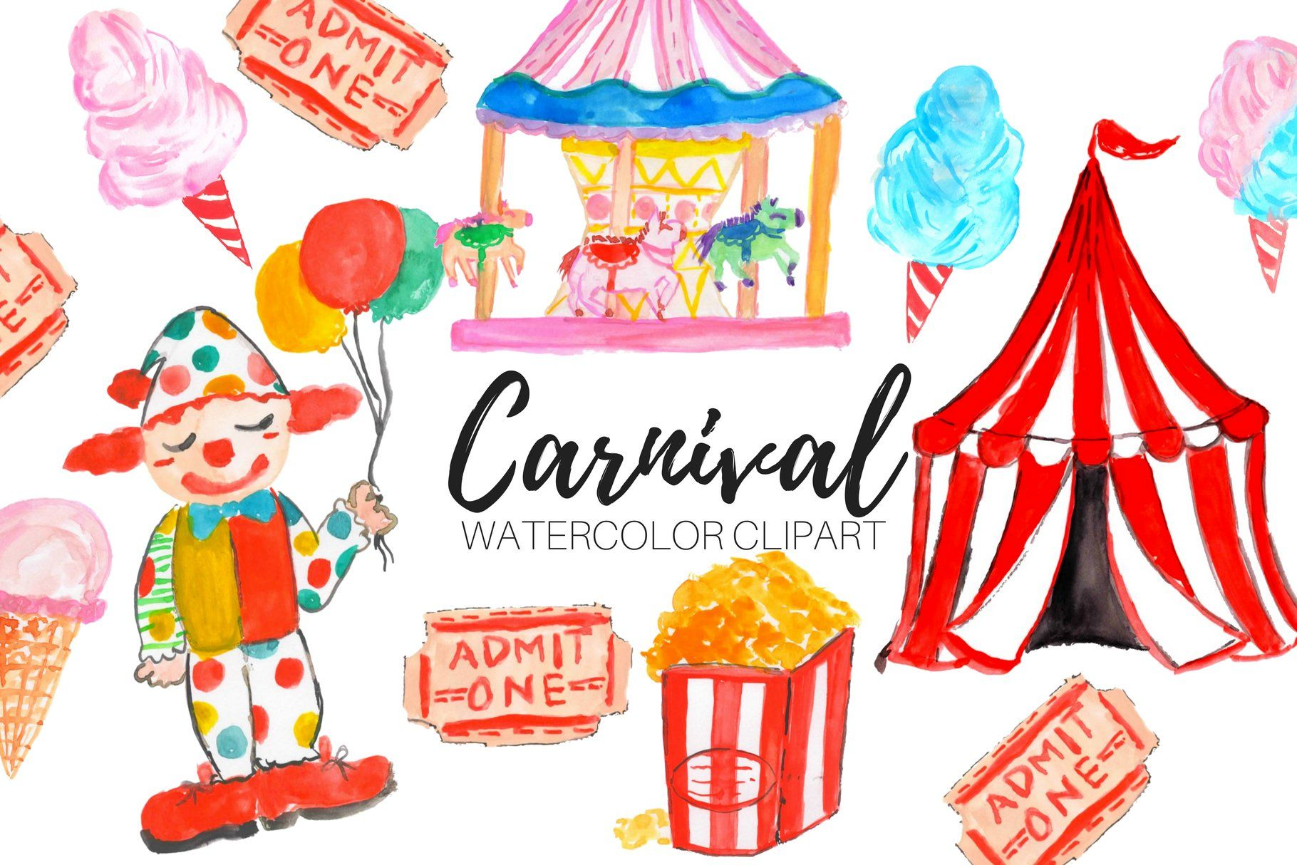 Watercolor Carnival Clipart #Ad , #SPONSORED, #transparent.