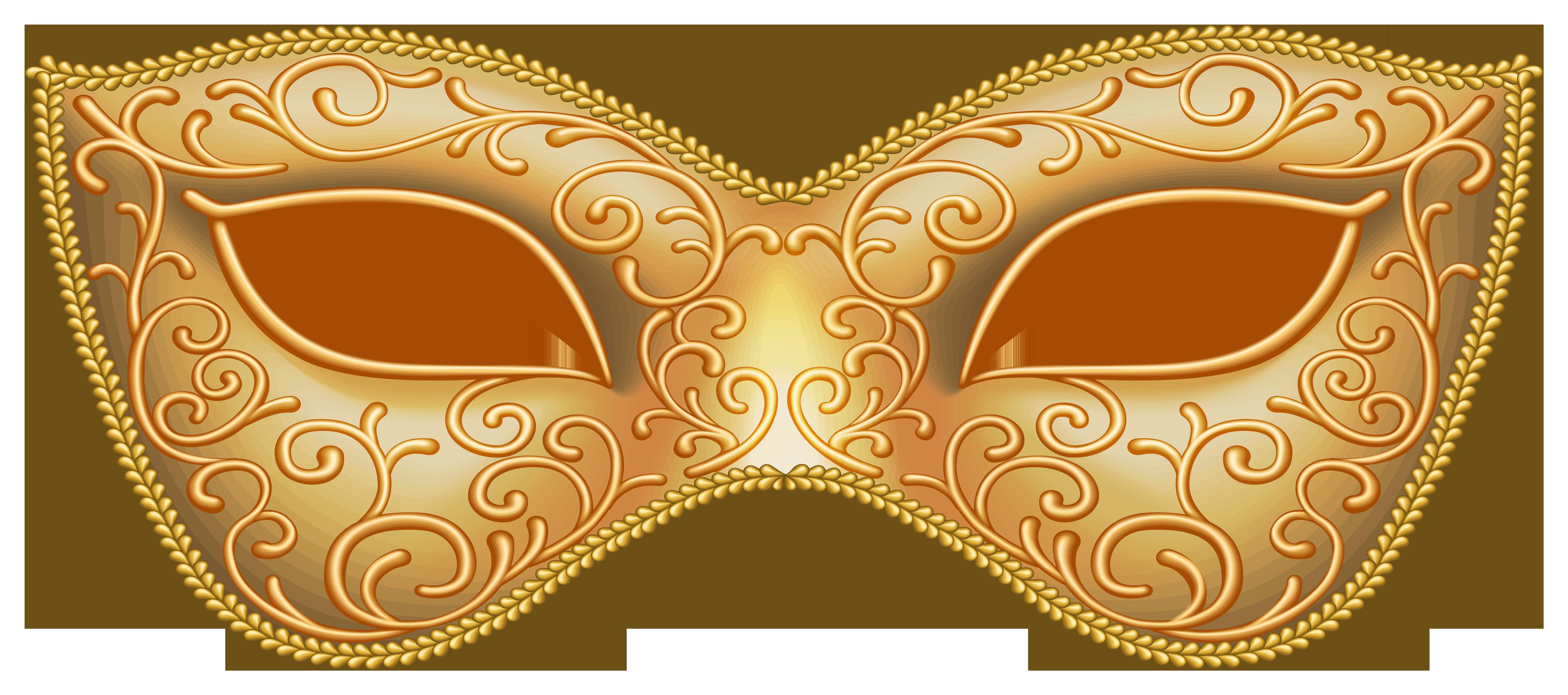 Gold Carnival Mask Transparent Image.