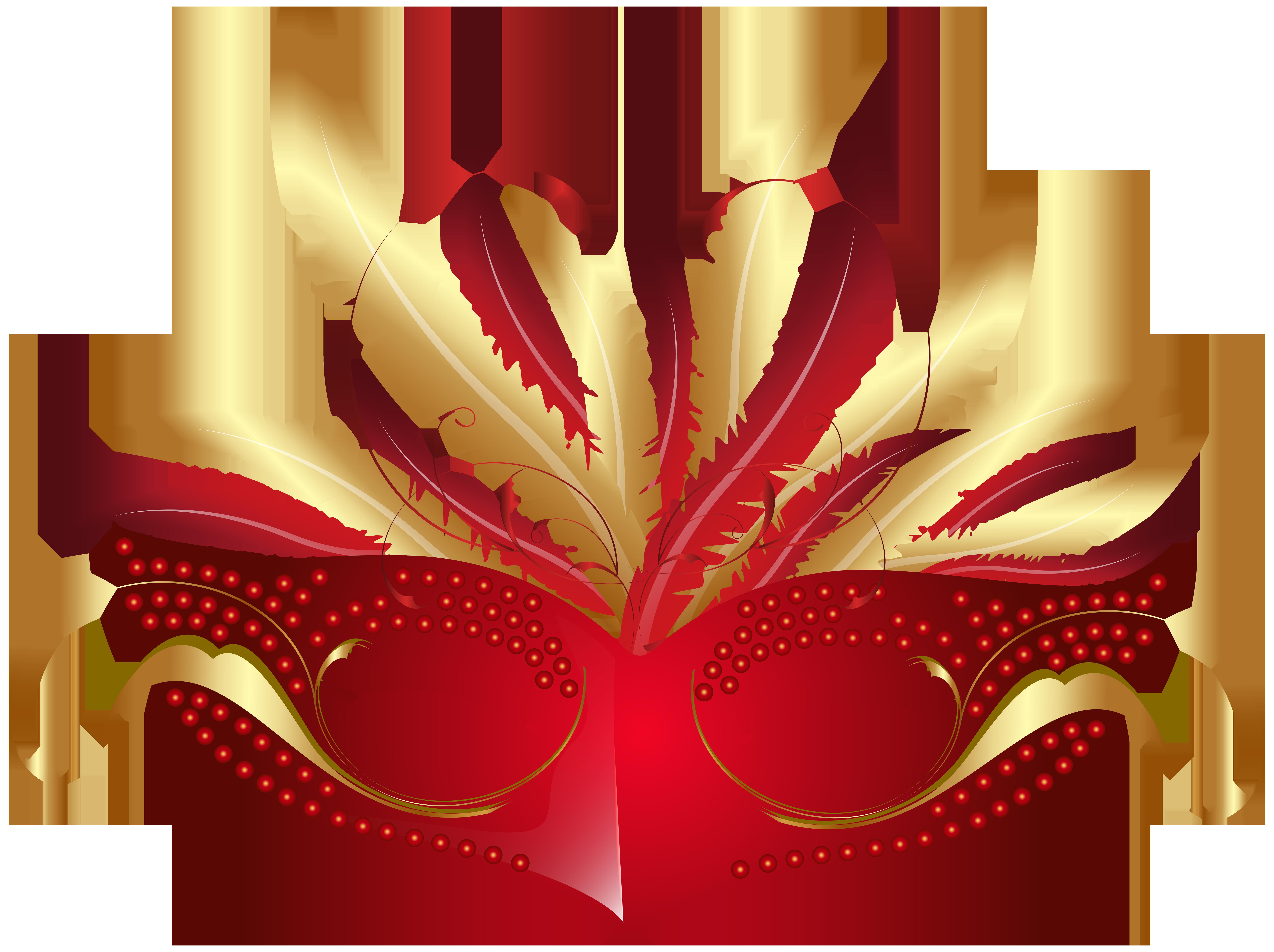 Red Carnival Mask PNG Transparent Clip Art Image.